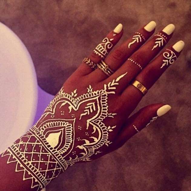 African white henna tattoo design
