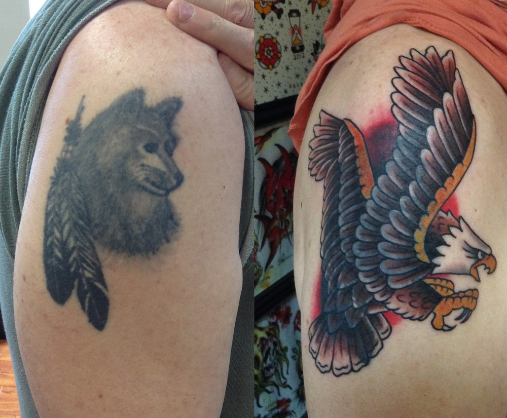 tattoo cover up after and before